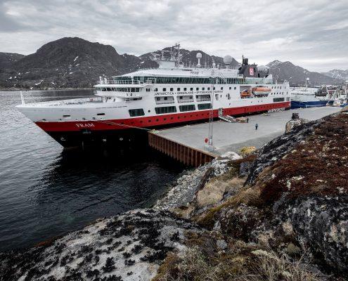 Greenland Cruises - MS Fram from Hurtigruten docked alongside in Sisimiut, Greenland