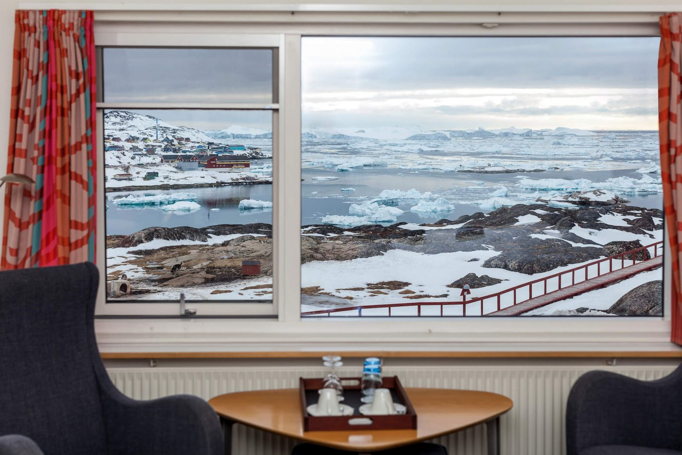 The view from Hotel Arctic out over the icefjord in Ilulissat. Photo by Siggi Anton - Visit Greenland
