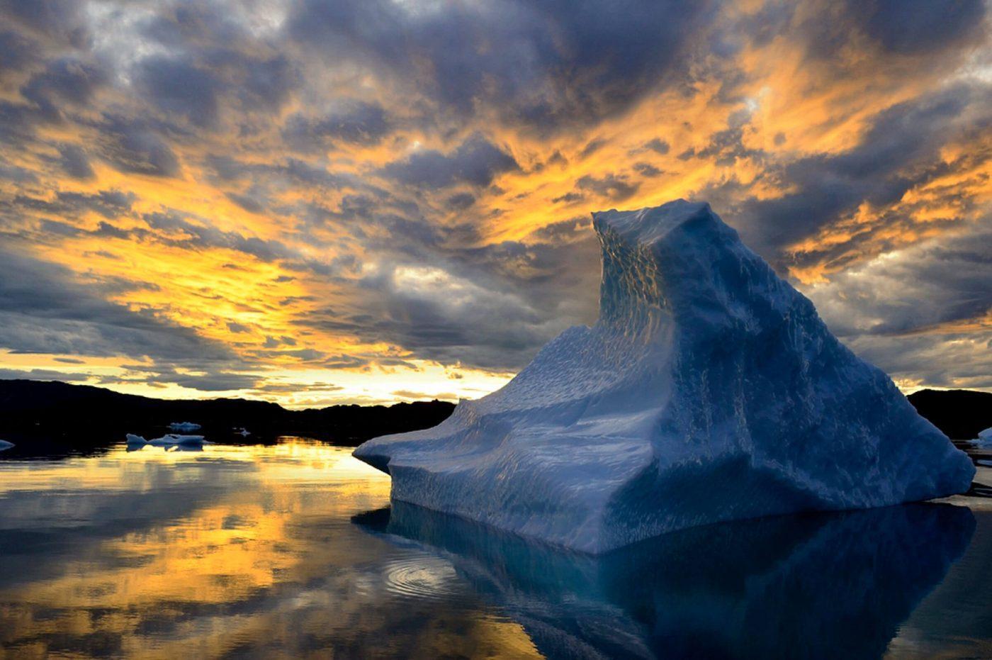 Iceberg in sunset, by Ole J. Petersen