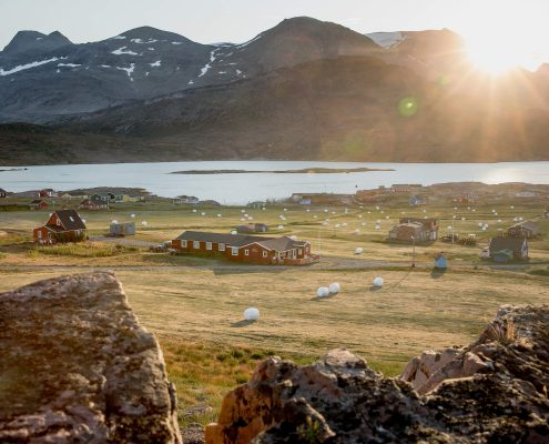 Sunrise over the small farming community Igaliku in South Greenland which is also an important site for Norse history in Greenland