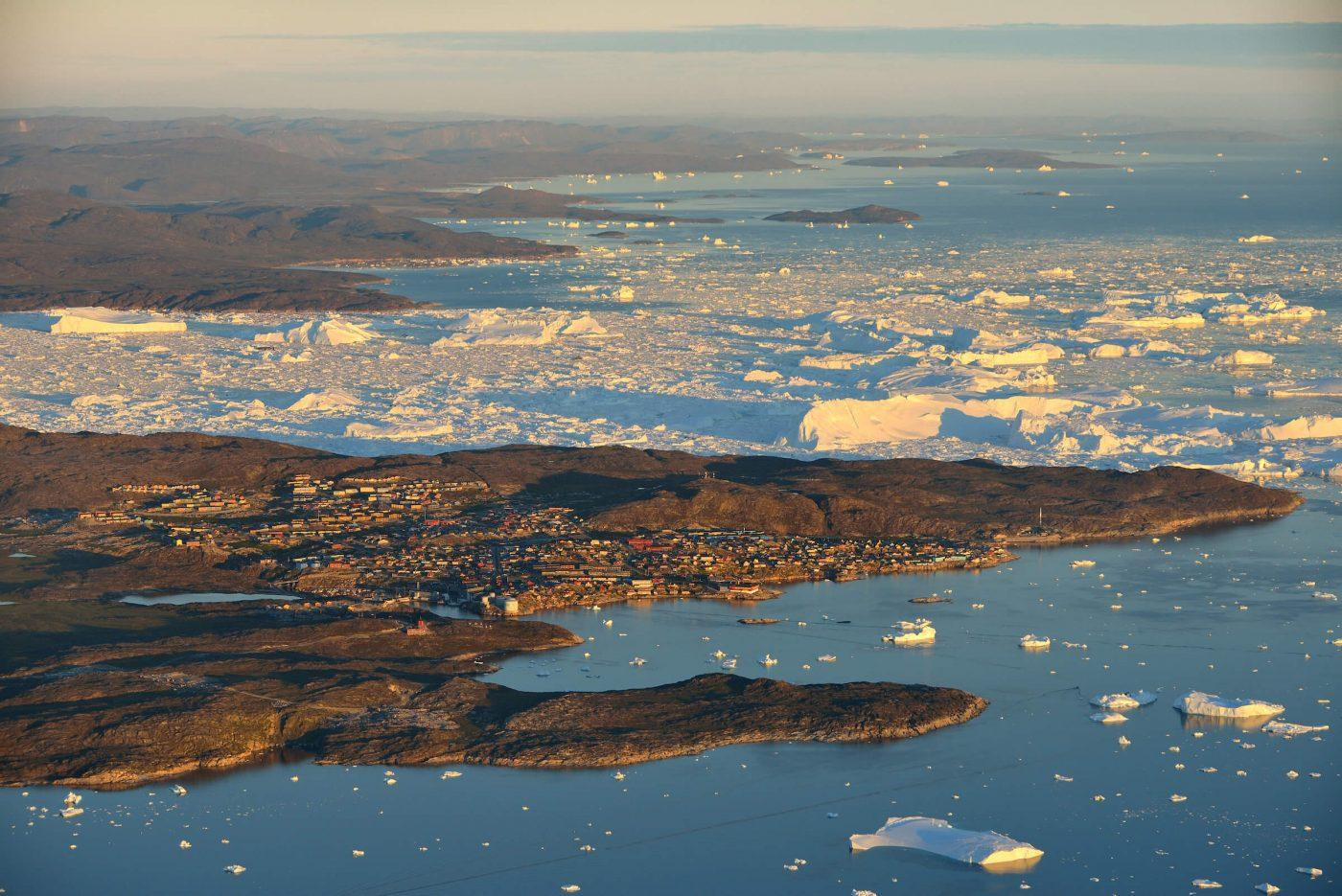 Ilulissat and the Icefjord from the air. By Rino Rasmussen