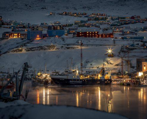 Ilulissat in Greenland at night. Photo by Mads Pihl
