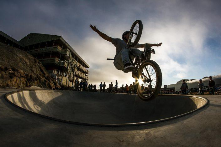 Local BMX hero Inuk Siegstad in the Sisimiut skate bowl in Greenland. Photo by Mads Pihl