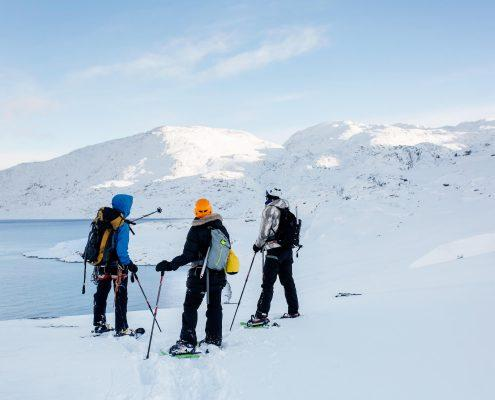 Marc Carreras with tourists on hike in the back-country in Nuuk in Greenland. By Rebecca Gustafsson