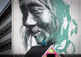 Modern Art - A boy from Nuuk looking at Guido Van Helten's wall art in Greenland