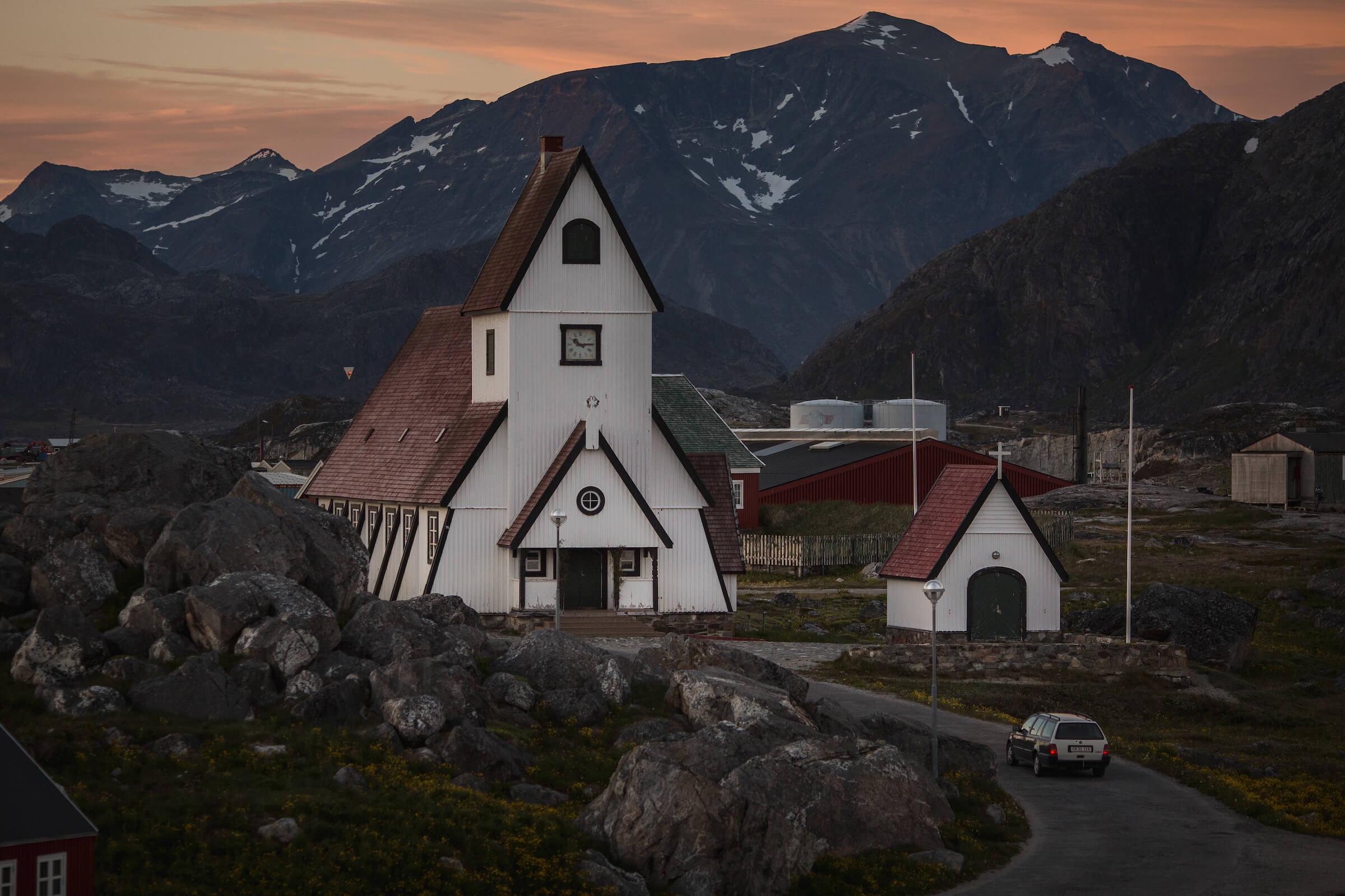 The white church in Nanortalik in South Greenland