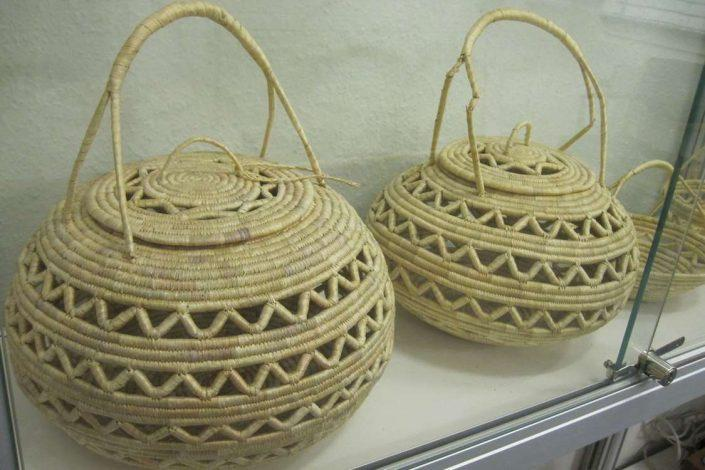Braided baskets on display in museum in South Greenland. Photo by Nanortalik Museum