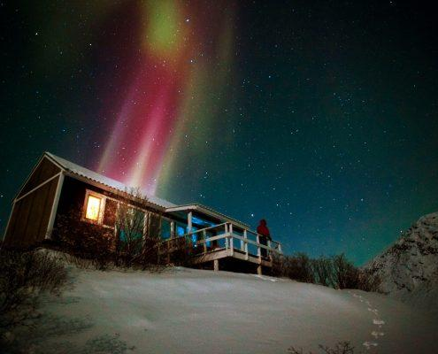 Northern lights over a small hut, by David Trood