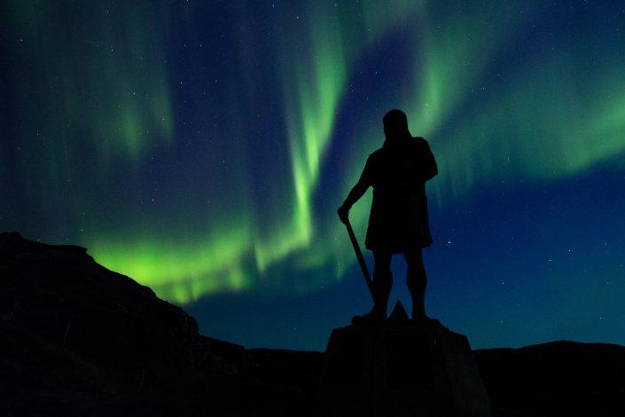 Northern lights over the Leif Ericson statue in Qassiarsuk in South Greenland. By Mads Pihl