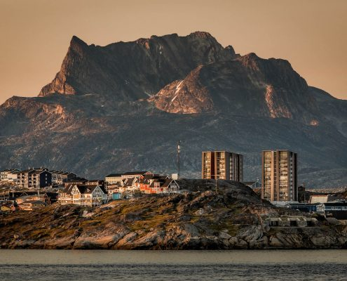 Nuuk is Greenlands capital and the signature mountain Sermitsiaq always stands large and visible in the background