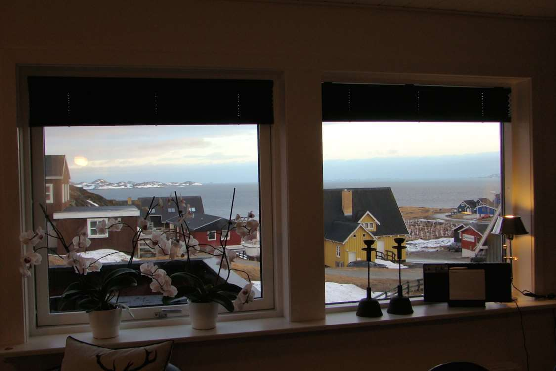View of Nuuk from hotel apartment. Photo by Nuuk Inn and Wellness.