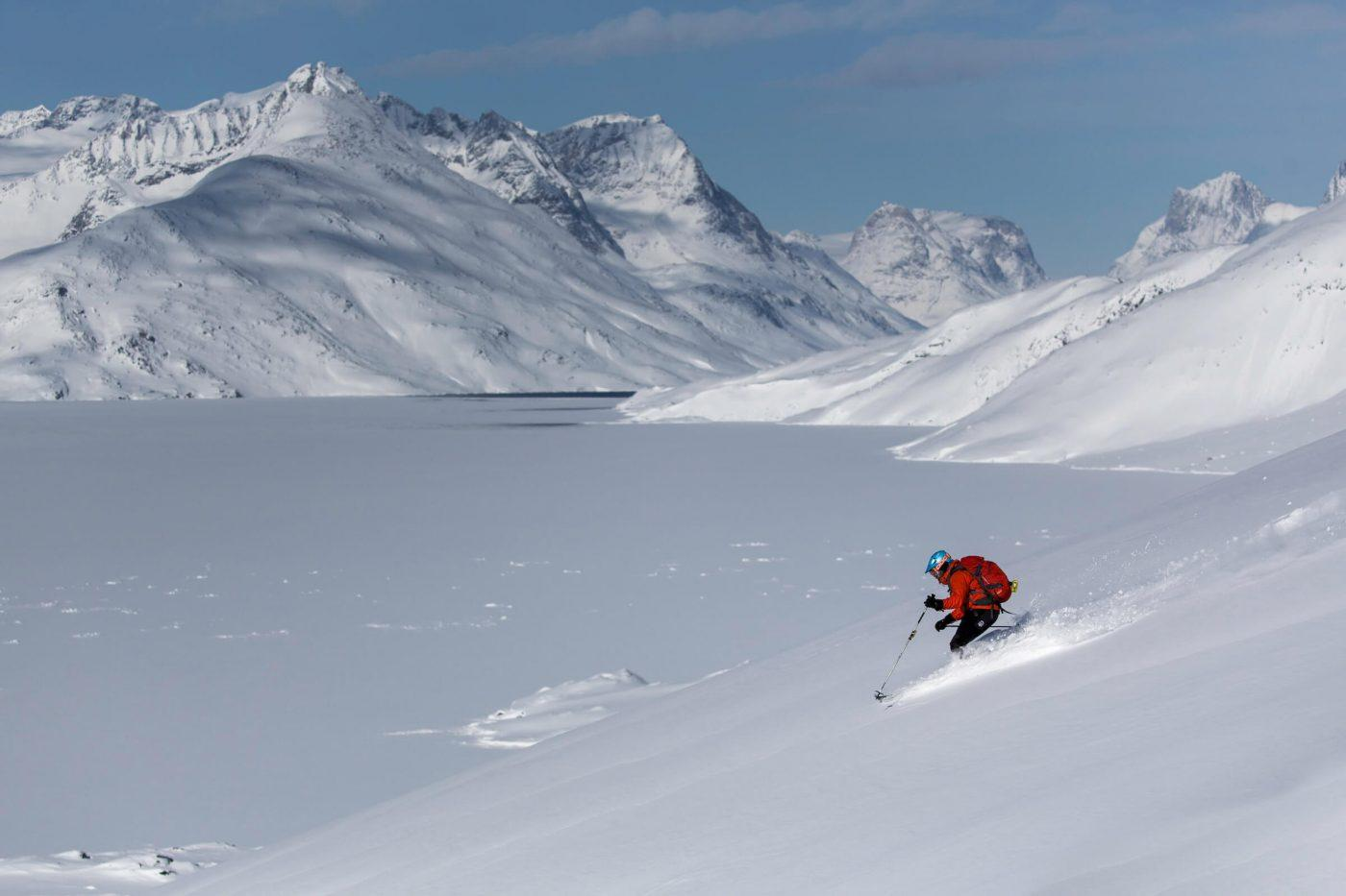 Skiing in Kuummiut, east Greenland. Photo by Mads Pihl