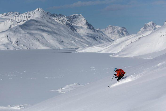 Skiing in Kuummiut, east Greenland. Photo by Mads Pihl