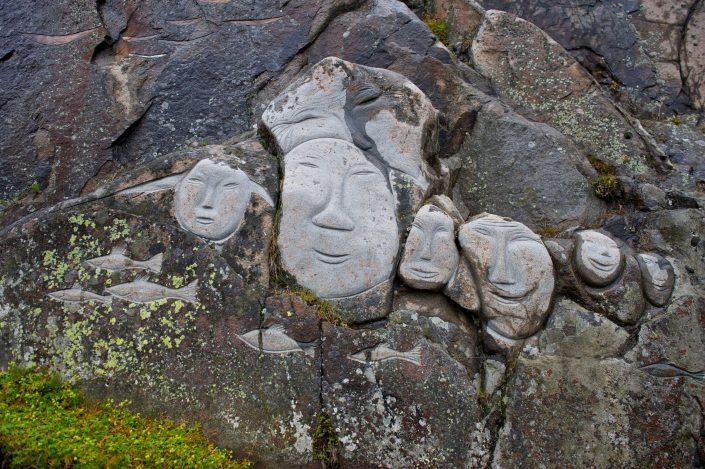 Stone & Man sculptures in Qaqortoq in South Greenland. Photo by David Buchmann - Visit Greenland