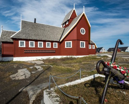 The church in Qeqertarsuaq in North Greenland