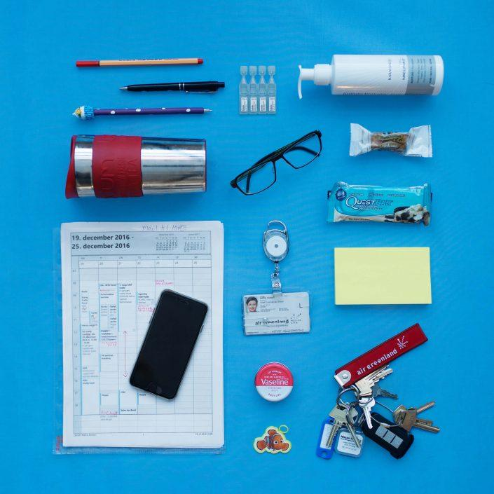 The everyday items of Maliina Abelsen, chief commercial officer of Air Greenland. Photo by Rebecca Gustafsson