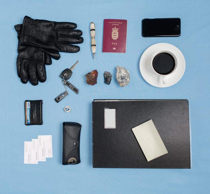 The everyday items of Mute Bourup Egede, minister of natural resources. Photo by Rebecca Gustafsson