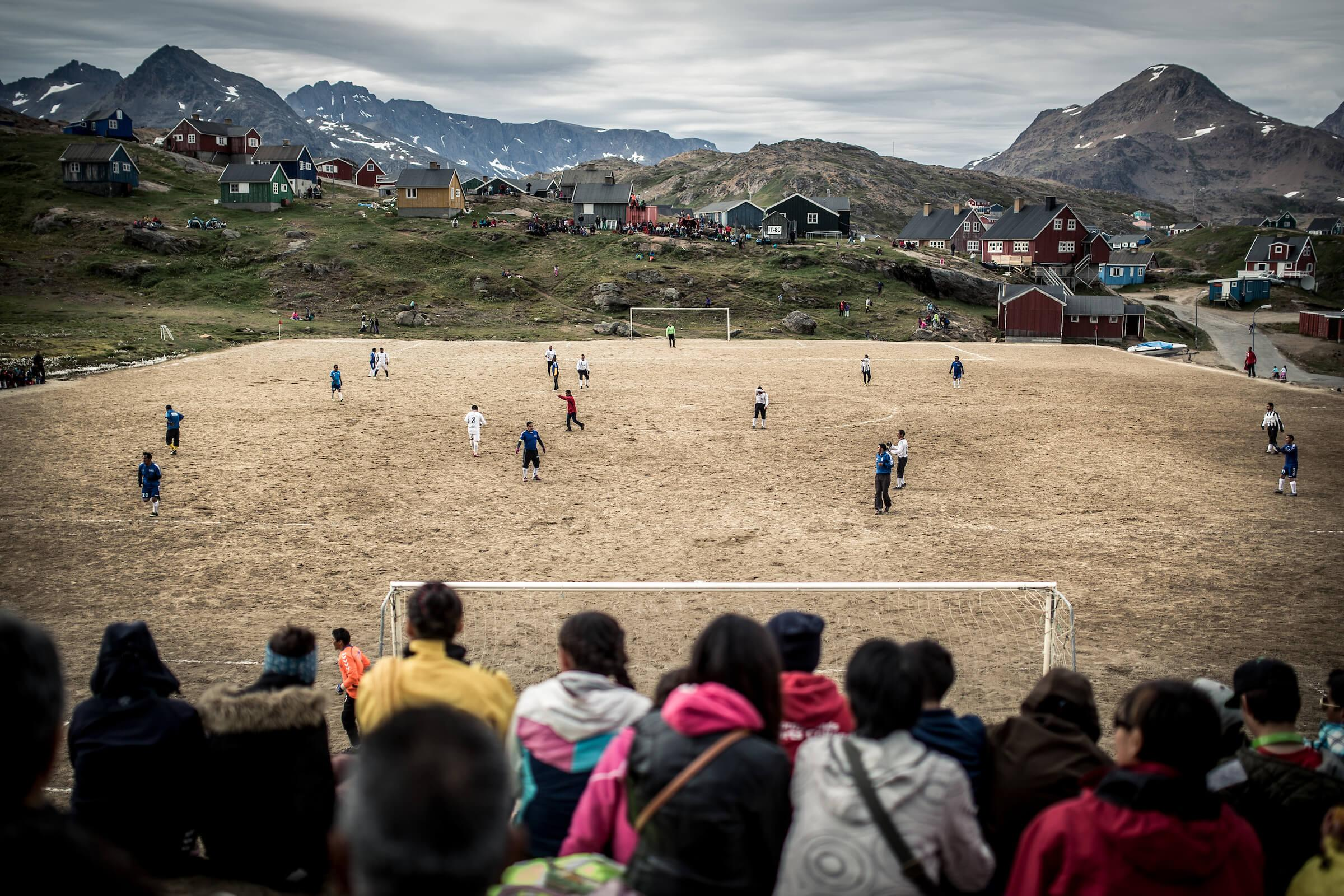 The football field in Tasiilaq in East Greenland. Photo by Mads Pihl