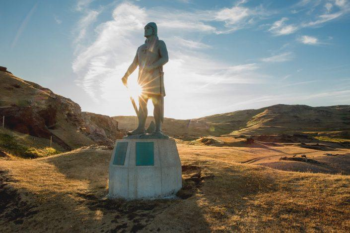 The statue of Leif Ericson, son of Erik the Red in Qassiarsuk in South Greenland. By Mads Pihl
