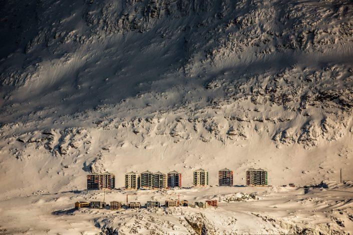 The Suloraq towers in Nuuk's suburb Qinngorput nestled below the mountain Ukkusissaq in Greenland