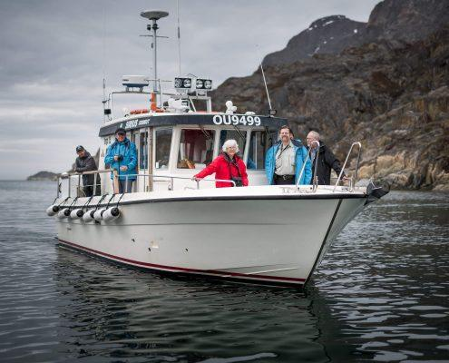 The tour boat Sirius Greenland arriving in Assaqutaq near Sisimiut in Greenland