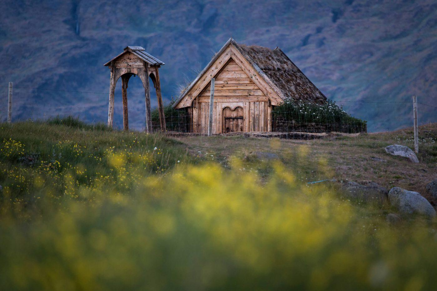 Tjodhilde's Church at the norse reconstruction site in Qassiarsuk in South Greenland. By Mads Pihl