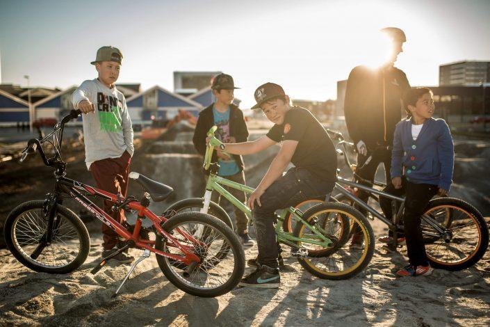 Young BMX riders from Nuuk at the Nuuk Playground in Greenland. Photo by Mads Pihl